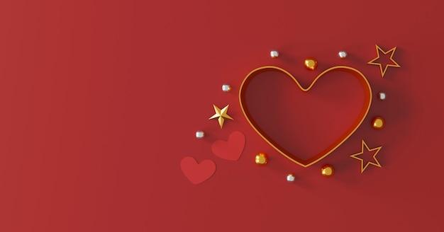 Happy valentijnsdag concept. hartvorm geschenkdoos op rode achtergrond. ruimte voor tekst. plat leggen. bovenaanzicht. 3d illustratie