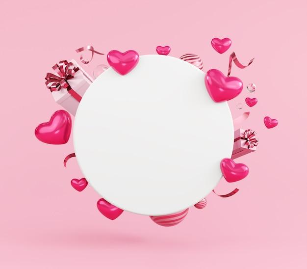 Happy valentijnsdag concept kaart mockup sjabloon hartvormige decoratie en geschenkdoos op roze achtergrond, hart verkoop, promotie.