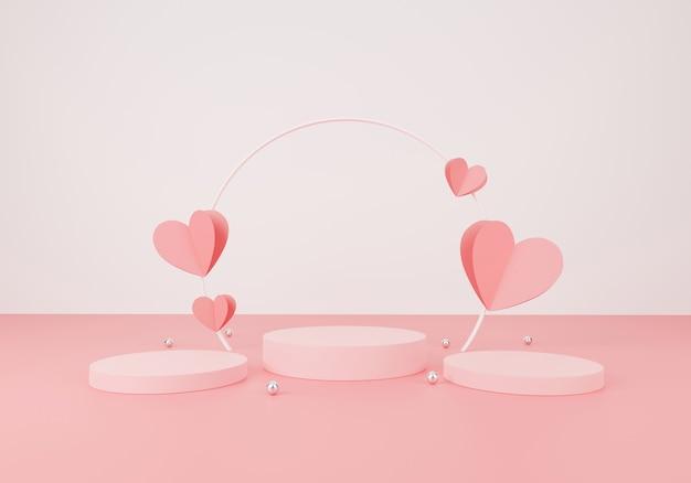 Happy valentijnsdag concept. minimale scène met geometrische vormen. cilinder podiumvertoning