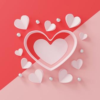 Happy valentijnsdag concept. papieren hart en zilveren bal op roze.