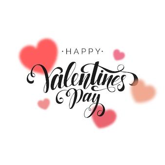 Happy valentines day belettering op witte achtergrond handgeschreven ontwerpelement