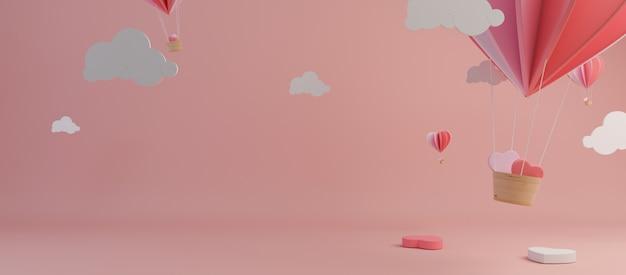 Happy valentines day en wieden ontwerpelement. roze achtergrond. 3d-rendering