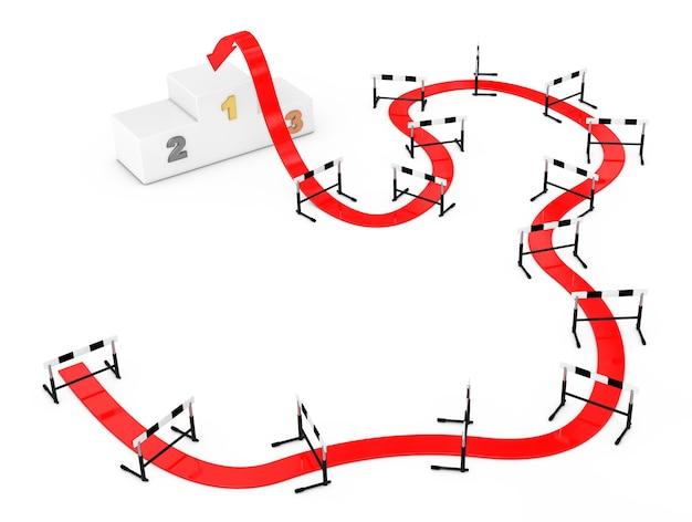 Harde manier om concept te richten. pijl weg naar succes door middel van atletiek hindernis op een witte achtergrond. 3d-rendering.
