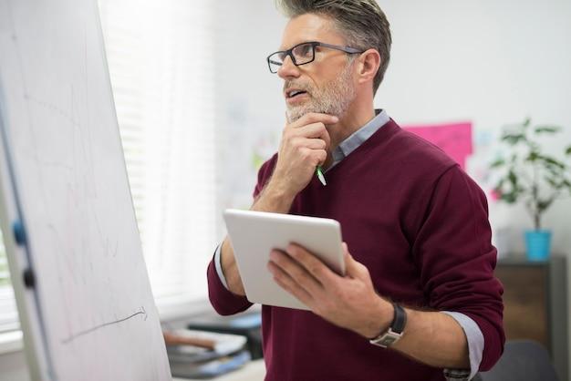 Hardwerkende man met digitale tablet