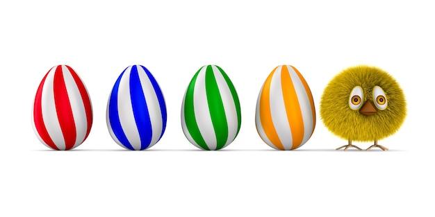Harige kip en eieren op witte ruimte. geïsoleerde 3d-afbeelding
