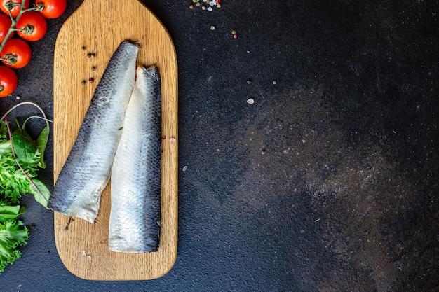 Haring vis zeevruchten set ingrediënten rauwe pescetarian dieet