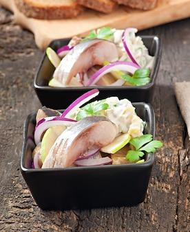 Haringsalade met ui en groene appel