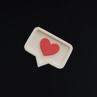 Hart als pictogram op zwarte achtergrond