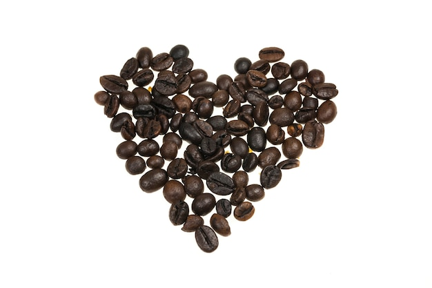 Hart bekleed met koffiebonen.