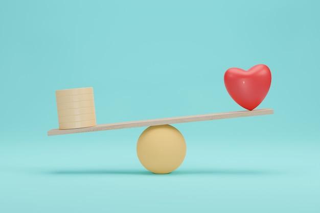 Hart en geld schalen concept. belang tussen gouden munt en liefdesbalans op schaal. 3d-weergave.
