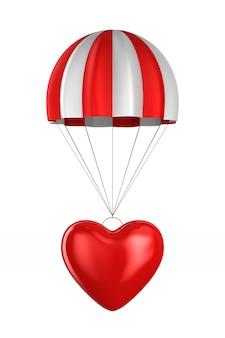Hart en parachute. geïsoleerde 3d-weergave
