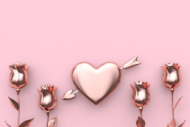 Hart en pijlroos abstract metaal roze achtergrondvalentijnskaartconcept het 3d teruggeven