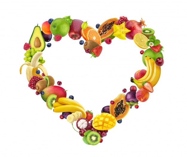 Hart gemaakt van fruit en bessen