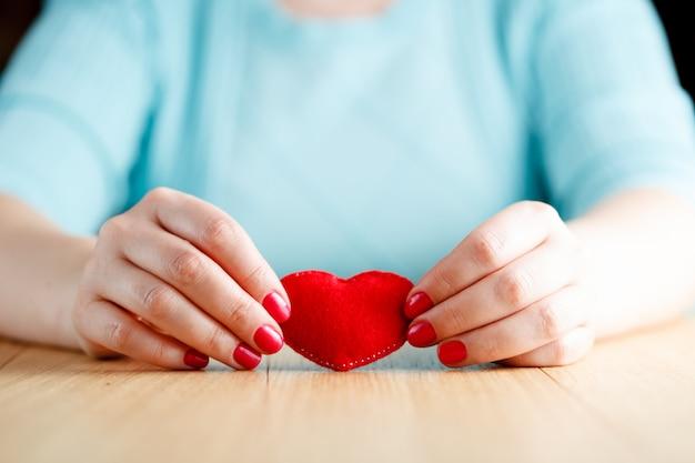 Hart in handen, vrouw houdt met de hand gemaakt genaaid zacht stuk speelgoed