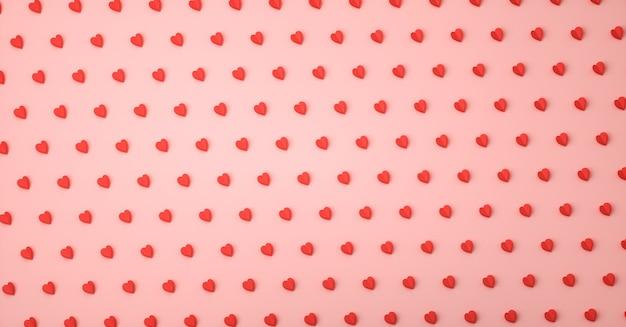 Hart liefde symbool 3d-rendering patroon, valentijnsdag concept poster, banner of achtergrond
