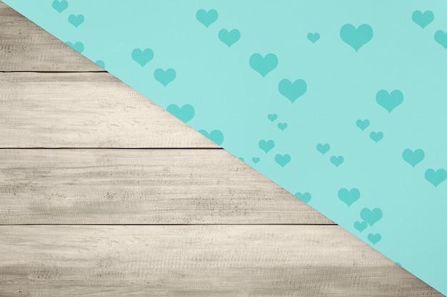Hart met een gekleurde en houten achtergrond. valentijnsdag