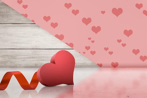 Hart met lint op een gekleurde achtergrond. valentijnsdag