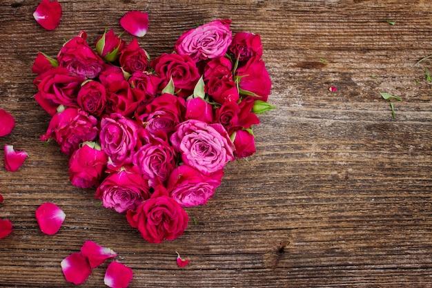 Hart van verse rozenknoppen die op witte achtergrond worden geïsoleerd
