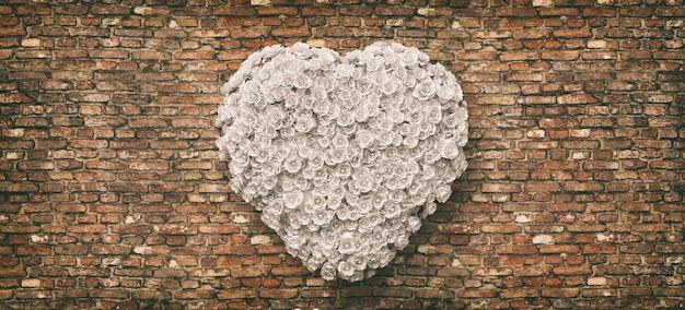 Hart van witte rozen op de bakstenen muurachtergrond. hou van concept, 3d-rendering