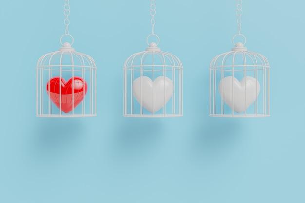 Hart zit opgesloten in een kooi. het concept van liefde en verschil 3d render.