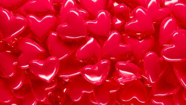 Harten achtergrond. liefde, passie en valentijnsdag als thema. 3d-weergave. wenskaart voor valentijnsdag concept. ballon hart achtergrond liefde. romantisch sjabloon voor bruiloft, vrouwendag.