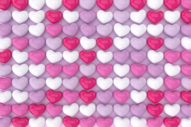 Hartenpatroon in roze en paars