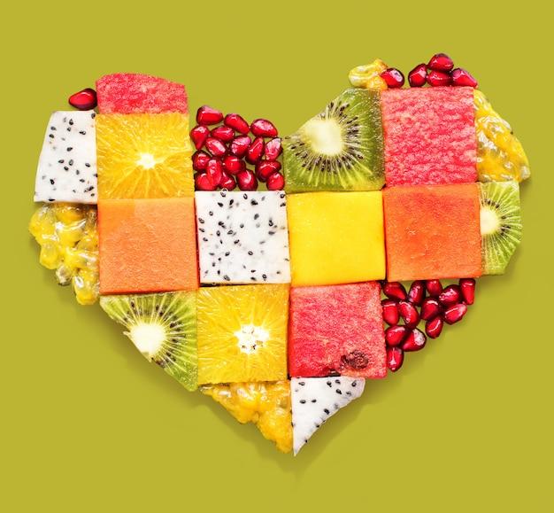 Hartsymbool vruchten dieet concept voedsel