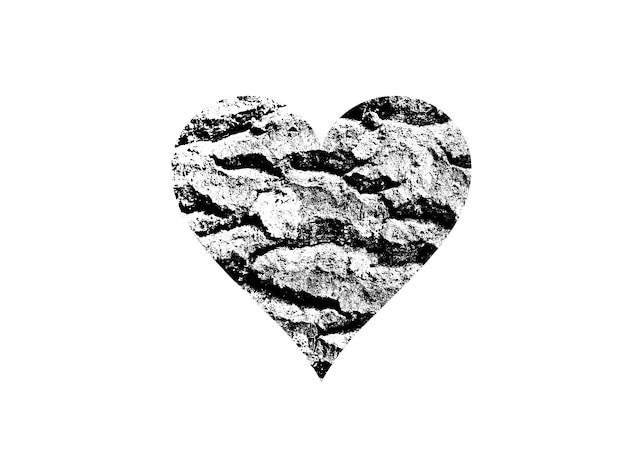 Hartvorm met zwart-witte textuur die op witte achtergrond wordt geïsoleerd