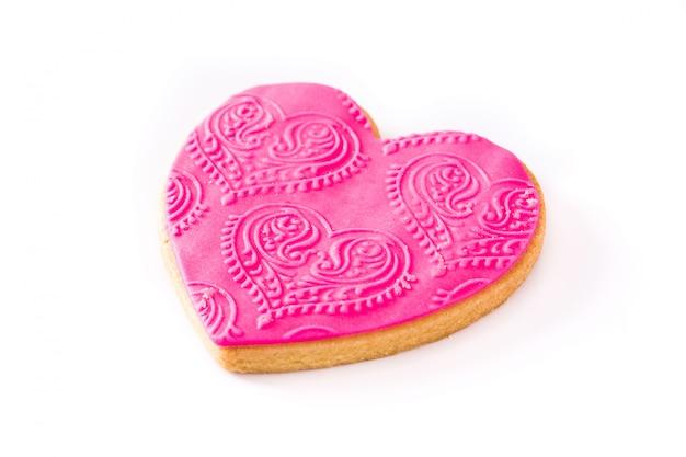 Hartvormig koekje voor geïsoleerde valentijnsdag.