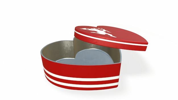 Hartvormige doos bonbons op witte achtergrond 3drendering