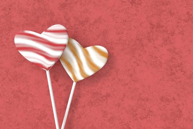 Hartvormige lolly. kleurrijke valentijnskaartachtergrond. 3d-weergave.