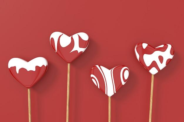 Hartvormige lolly. valentijn achtergrond. 3d-weergave.