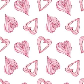 Hartvormige roze schuimgebakjeachtergrond