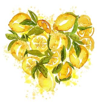 Hartvormige set van sappige schets citroenen met bladeren en plakjes op wit.