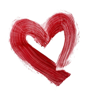 Hartvormige vlek van rode lippenstift geïsoleerd op een witte achtergrond