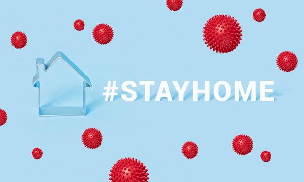 Hashtag blijf huis met huis op blauwe achtergrond, motivatiebanner covid-19