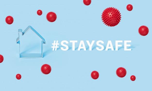 Hashtag blijf veilig met huis op blauwe achtergrond, motivatiebanner covid-19