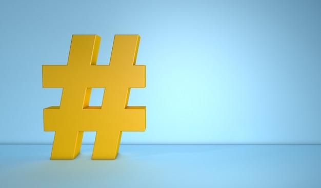 Hashtag op blauwe achtergrond met exemplaarruimte