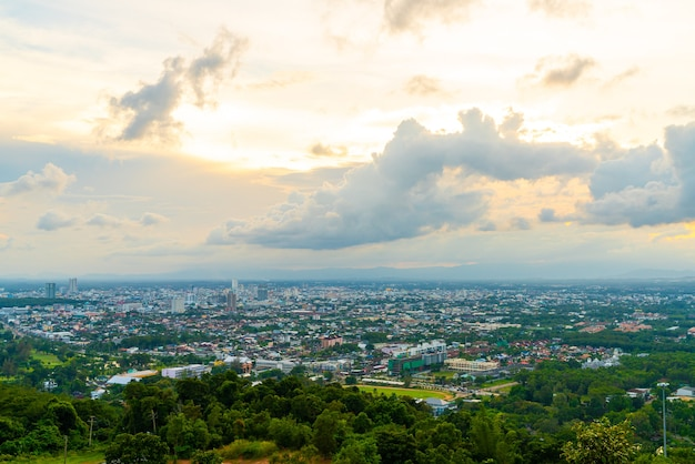 Hat yai city skyline met twilight sky in songkhla in thailand