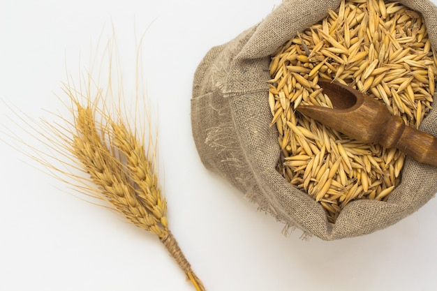 Haverkorrels in de zak. houten lepel. twig gerst