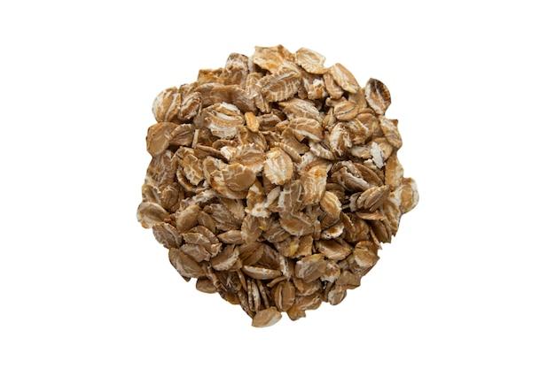 Havermaaltijd, geïsoleerde graangewassen, het gezonde ingrediënt van de ontbijthavermoutpap op witte achtergrond.