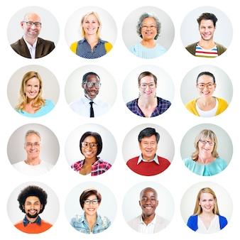 Headshot van gelukkige multi-etnische mensen