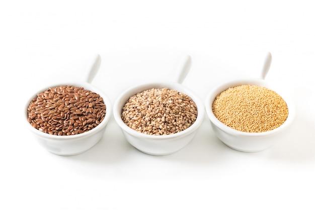 Healthy food ingredents 3 soort glutenvrije granen vlas