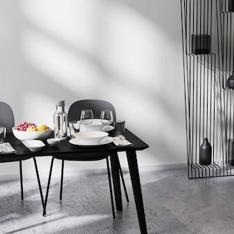 Hedendaags minimalistisch design interieur, close-up van eettafel met stoelen, witte muur en betonnen vloer, tafel serveren, 3d-rendering