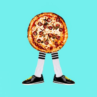 Hedendaagse kunstcollage. pizza hipster-stemming. fastfood minimaal project