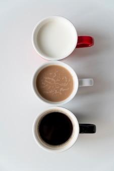 Heerlijke bovenaanzicht koffie degradeert