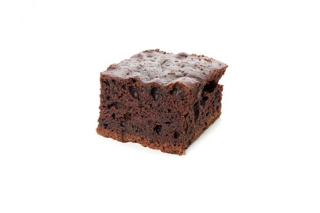 Heerlijke chocoladetaart segment geïsoleerd op een witte achtergrond
