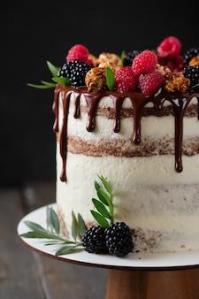 Heerlijke en mooie handgemaakte taart. suikerwerk voor de vakantie. dessert versierd met verse bessen, groene bladeren en snoep.