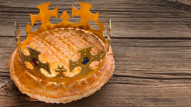 Heerlijke epiphany taart dessert hoge weergave