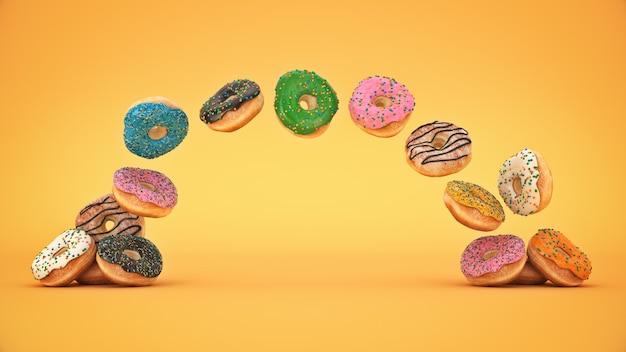 Heerlijke kleurrijke donut set 3d-rendering